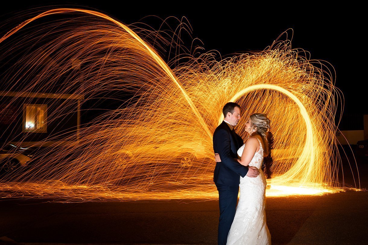 Sandhouse Hotel Rossnowlagh Wedding steel wool fire wedding photo