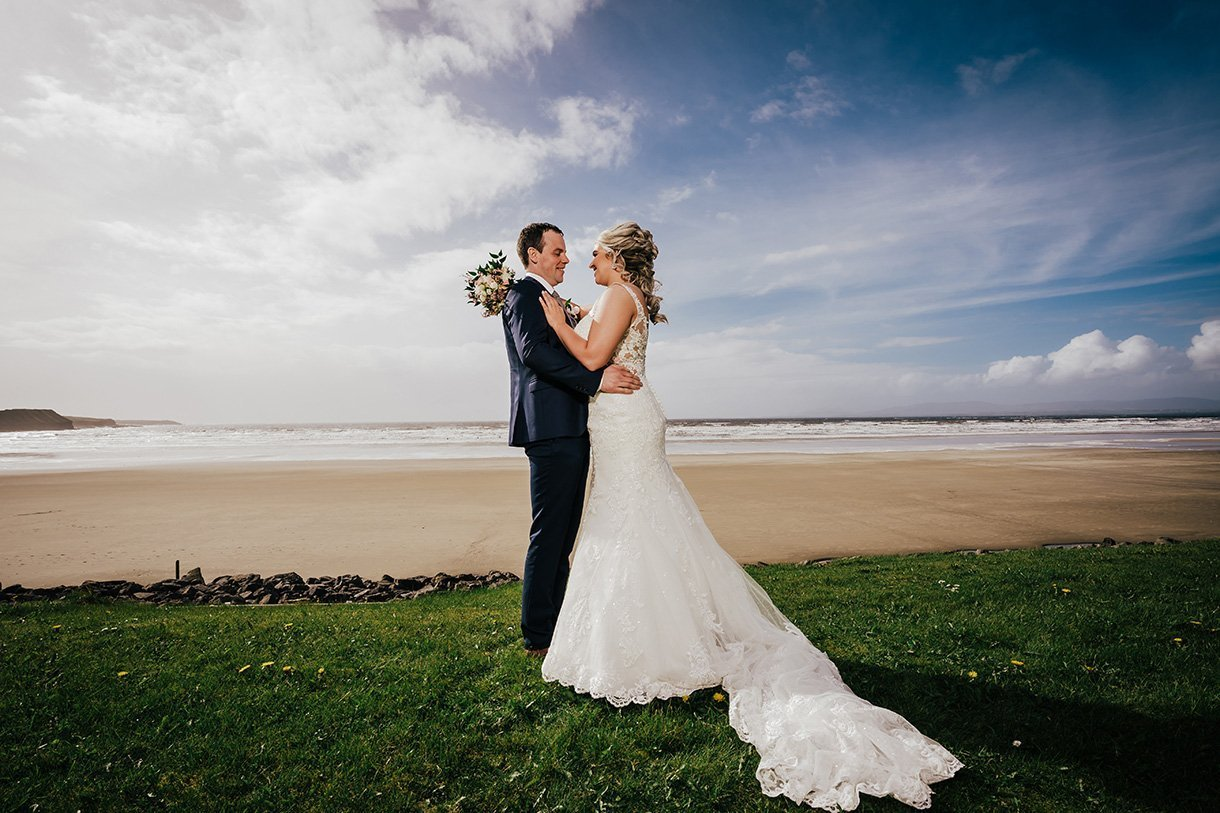 Sandhouse Hotel Rossnowlagh Wedding bride and groom on rossnowlagh beach