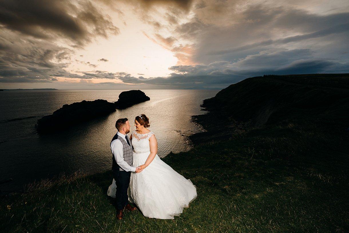 Great Northern Hotel Bundoran Summer Wedding bride and groom at sunset