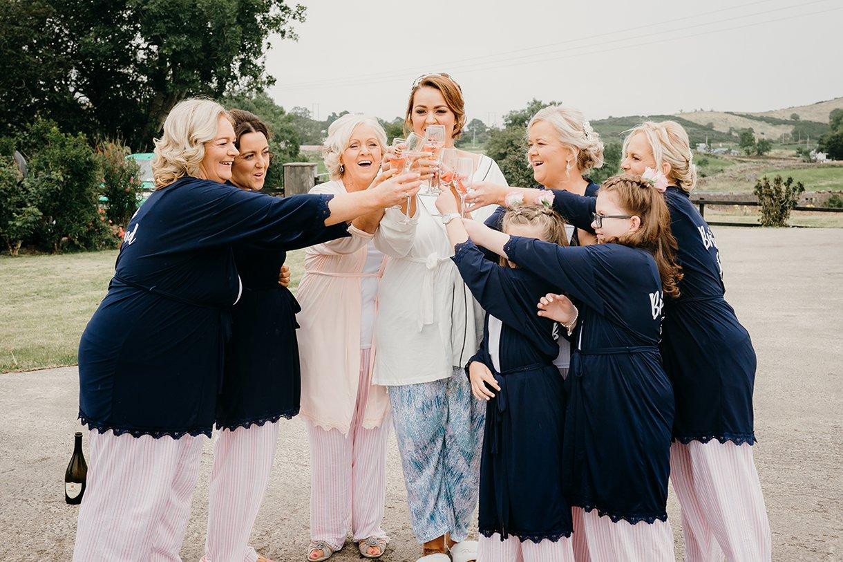 Great Northern Hotel Bundoran Summer Wedding bridesmaids toast the bride